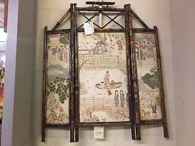antique bamboo firescreen or wall hanging