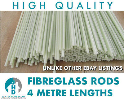 20 x Fibre Glass Quality Rods 4mm Thick 3m Long Roman Blinds - CHEAPEST ON EBAY!