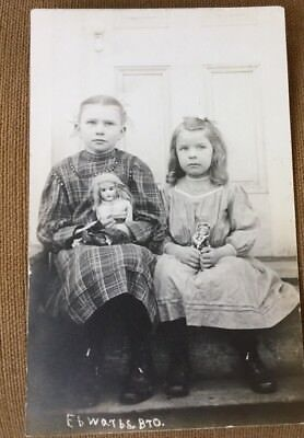 Two Young Girls Posing With Jumeau Doll Rppc Photo Postcard