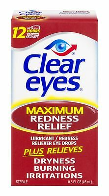 Clear Eyes Maximum Strength Redness Relief Eye Drops, 15ml, Exp 04/19