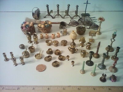 Antique Dollhouse Misc. Accessories Mostly Metal, 74 Items