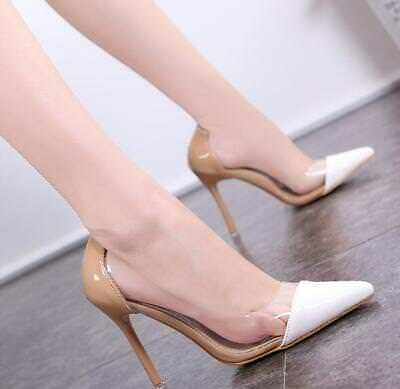 Women Chic High-heeled Transparent Pointed Toe Sexy Party Career Pumps Shoes