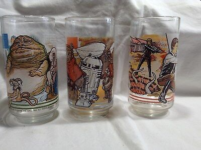 1983 Set of 3 Return of the Jedi Star Wars Glasses Burger King Coca Cola Vintage