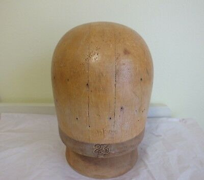 VINTAGE MILLINERY WOOD HAT BLOCK with Stand