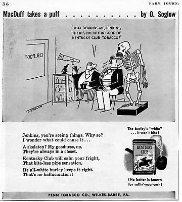 1942 Kentucky Club MacDuff Takes a Puff Pipe Tobacco Print Ad