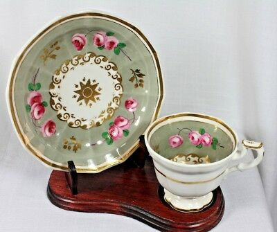 Ceramic Tea Cup, White Base, Gray Band, Pink Roses, Gold Scrolling