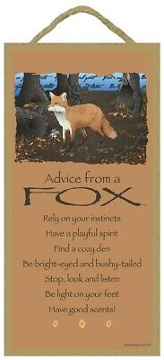 Advice from a Fox Inspirational Wood Wild Animal Nature Sign Plaque Made in USA