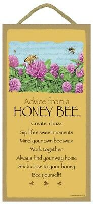 Advice from a Honey Bee Inspirational Wood Insect Nature Sign Plaque Made in USA