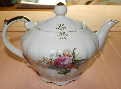 Working Antique Music Box Teapot Gold Flowers Very good condition ... see pics