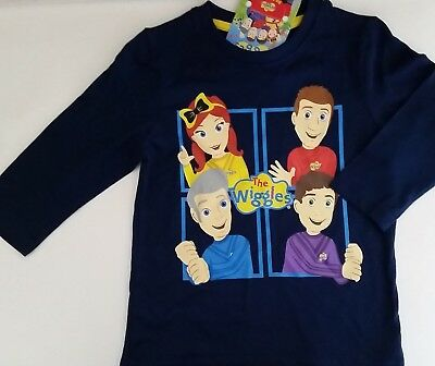 THE WIGGLES BIG RED CAR Licensed long sleeve tee t shirt top navy NEW sizes 1-5