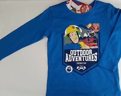 FIREMAN SAM Boy Licensed long sleeve tee t shirt top blue cotton NEW sizes 1-5