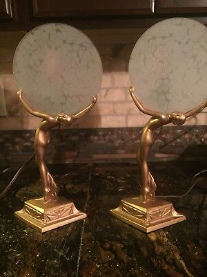 Pair of Vintage Art Deco Nude Lady Statue Lamps with Original Glass