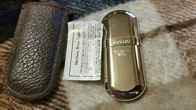 Vintage Marlboro Brass No.6 Cigarette Lighter with Pouch and Paper