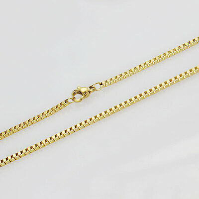 18K IP Gold Plated Stainless Steel Gold box chain Necklace 18-30inch chain charm