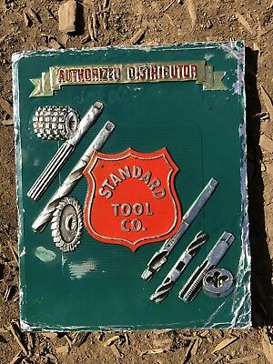 1930s Vintage STANDARD TOOL CO ~ AUTHORIZED DISTRIBUTOR Metal Advertising Sign