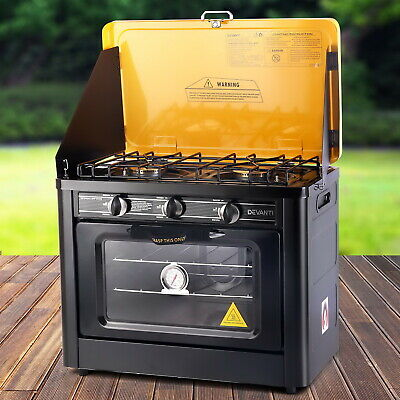 Portable Gas Oven Stove Outdoor Camping Caravan Cooking Accessory Black Yellow