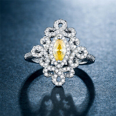 Marquise Cut Citrine 925 Silver Wedding Engagement Ring Pretty Ring Size 6-10