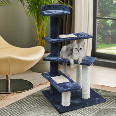 Cat Scratching Post Tall Tree House Scratcher Condo Furniture Tower Grey 100cm