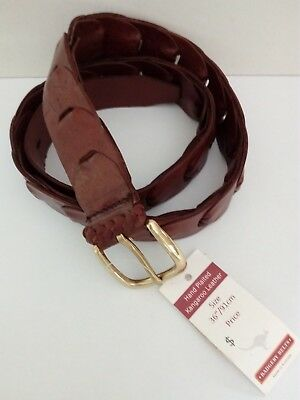 "Badgery Kangaroo Leather Link Belt ""Maranoa"" Tan Size 36""/91cms New with Tags"