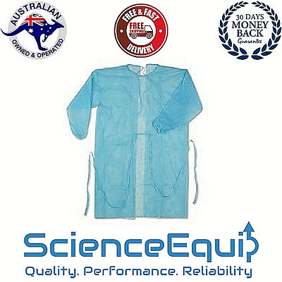 Disposable GOWNS BLUE, FULL SLEEVES, PP/PE Fluid Resistant, BASTION, PACK OF 90