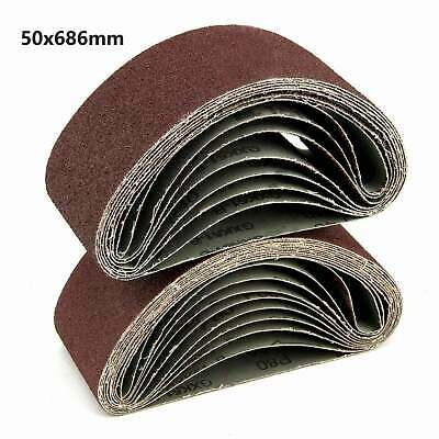 10X Sanding Belts 50x686mm Mixed 60/120/150/240 Grit Sander File Long Lasting
