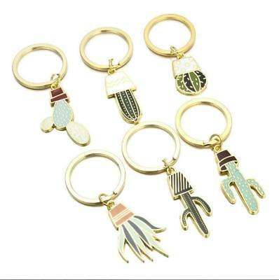 Cute Cactus KeyRing Creative Exquisite Plant Meat Keychain Metal Cartoon Pendant