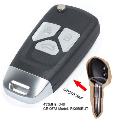 Upgraded Flip Remote Car Key 2//3 Button 433MHz ID46 for Chevrolet Captiva 06-10