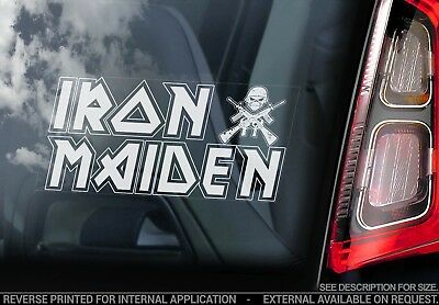 Iron Maiden - Car Window Sticker - Text Trooper Skull Skeleton Decal Sign - V01