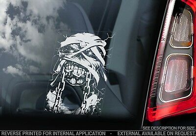 Iron Maiden 'Eddie'- Car Window Sticker - Trooper Skull Skeleton Decal Sign -V02
