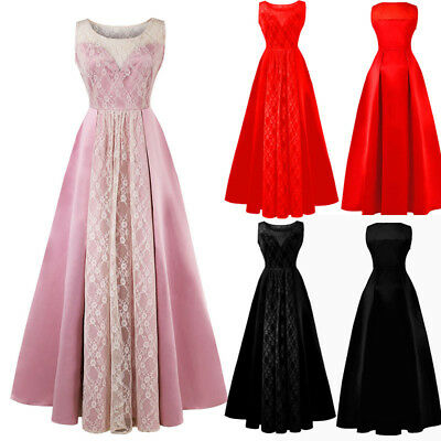 Long Lace Evening Formal Party Ball Gown Prom Bridesmaid Maxi Dress Size 8-22