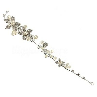Pearl Flower Crystal Rhinestone Party Bridal Headband Hair Band Tiara B3X7