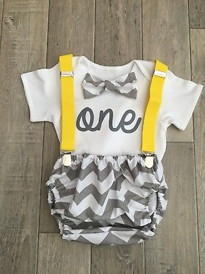 Grey/&White Star Baby Boys 1st Birthday Cake Smash Outfit// Prop Handmade.
