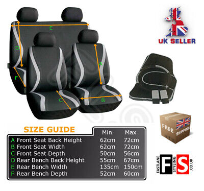 Universal Fabric Full Set Seat Covers -Harness -Mats -A005Gf- Che 2