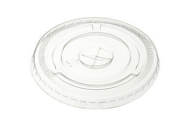 100 x 12oz Clear Flat Lids with Straw Hole For Plastic Smoothie Cups