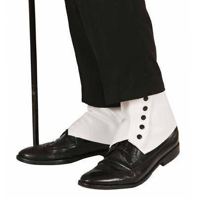 Deluxe Cream Spats Shoe Covers Gangster 1920's Fancy Dress Costume Accessory