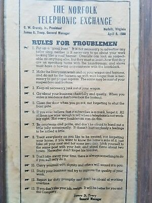 Rules For Troublemen--The Norfolk Telephonic Exchange. 13 Employee rules. 1800s