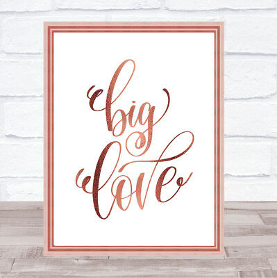 Big Love Quote Print Poster Rose Gold Wall Art