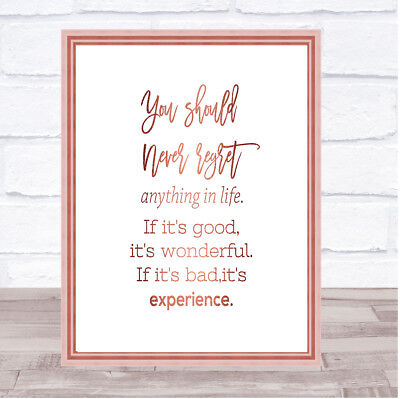 Should Never Regret Quote Print Poster Rose Gold Wall Art
