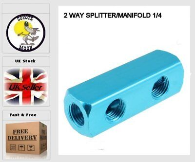 2 WAY SPLITTER MANIFOLD 1/4 pneumatic, compressor Air Line Fitting