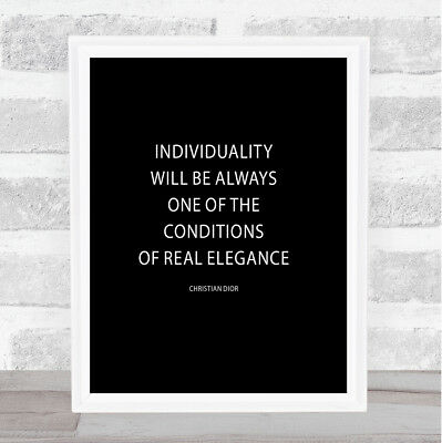 Christian Dior Individuality Quote Print Black & White