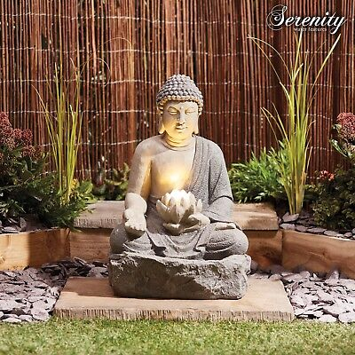 Serenity Buddha Garden Water Feature Fountain LED Light Self Contained Ornament