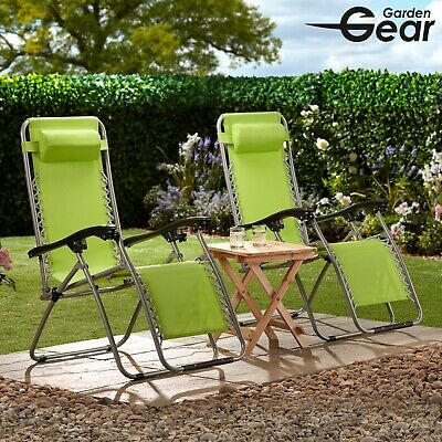 Garden Life Reclining Chair Zero Gravity Sun Bed Lounger Folding Outdoor Seat