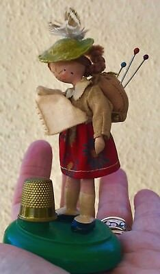 ANTIQUE German Doll THIMBLE HOLDER & PIN CUSHION GIRL Crying NODDER Carved Wood