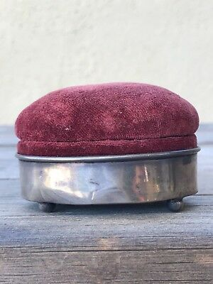 ANTIQUE Sterling Silver PIN CUSHION / RING BOX Pretty Burgundy Rose Velvet 1906