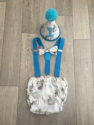 Baby Boys 1st Birthday Cake Smash Outfit. Light Blue Peter Rabbit. Handmade.prop
