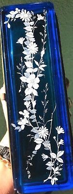 ANTIQUE GLOVE DOCUMENT BOX ~ Blue Glass Wood ~ Moser Mary Gregory Style STUNNING