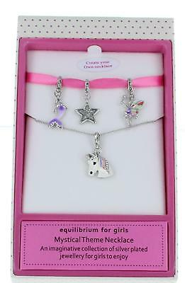 Equilibrium 4 in 1 Girls Mystical Silver Charm Necklace Unicorn Fairy Star Merma