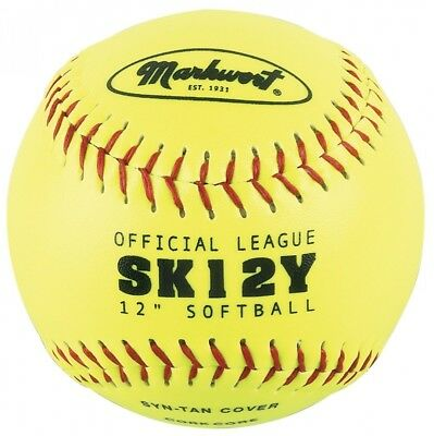 Markwort Yellow 30.5cm Synthetic Cover Softball (Dozen). Shipping is Free