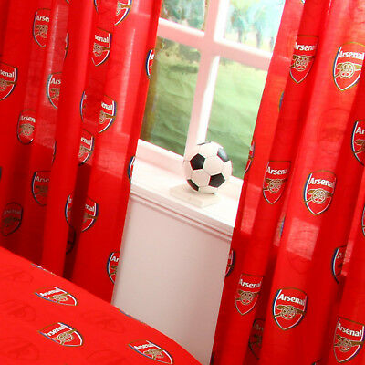 "Arsenal FC Football Club Echo 66"" Wide Curtains Official Choose 54"" or 72"" Drop"