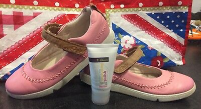 Girls Clarks Pink Shoes Size 2.5 F With Polish Summer Hoilday Spring